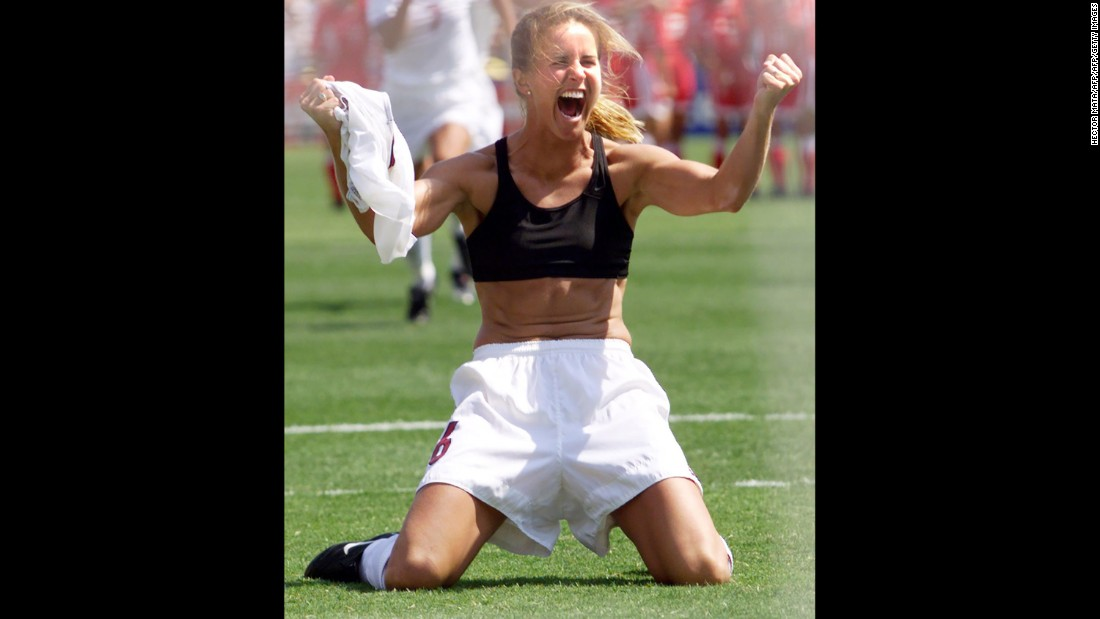 The 1999 US Women's National Team -- the 99ers, as they were called -- played in front of sold out stadiums during their quest for glory at the 1999 FIFA Women's World Cup. It culminated with Brandi Chastain's penalty kick that clinched the Americans' victory in the World Cup final on July 10, 1999. The ensuing celebration, shown, is among the most famous in sports history.