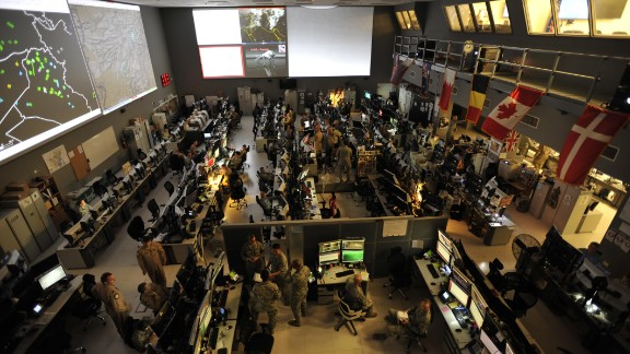 The US Combined Air Operations Center (CAOC) at Al Udeid Air Base, Qatar, provides command and control of air power throughout Iraq, Syria, Afghanistan, and 17 other nations.