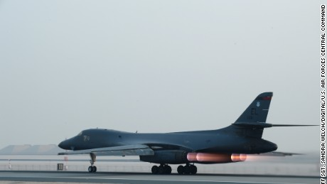 A U.S. Air Force B-1 bomber  takes off from Al Udeid Air Base for a strike against ISIS in 2015.