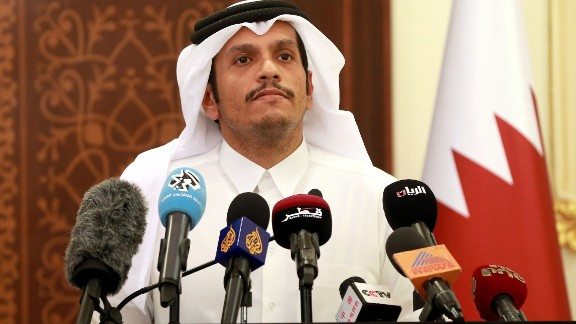 Qatari Foreign Minister Mohammed bin Abdulrahman al-Thani gives a press conference in Doha on May 25, 2017. Qatar has been targeted by a hostile campaign, particularly in the US media, its foreign minister said, a day after the Gulf state accused hackers of attributing false remarks to the emir on state media. / AFP PHOTO / KARIM JAAFAR        (Photo credit should read KARIM JAAFAR/AFP/Getty Images)