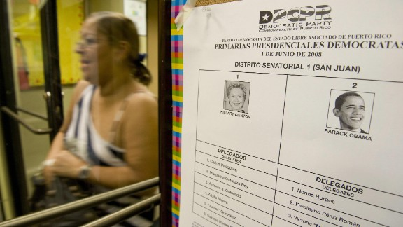 A woman leaves a voting station after casting her ballot in the June 2008 Democratic presidential primary between Hillary Clinton and Barack Obama in San Juan. Puerto Ricans can vote in US primaries but not in presidential elections.