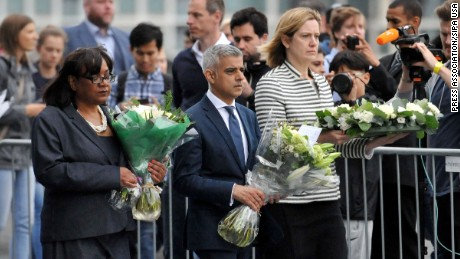 Diane Abbott (left) appears with London Mayor Sadiq Khan and then Home Secretary Amber Rudd (right) at a vigil for London Bridge terror attack victims in 2017.