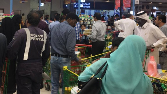 Qatar residents rushed to supermarkets following news the country's only land border was being closed.