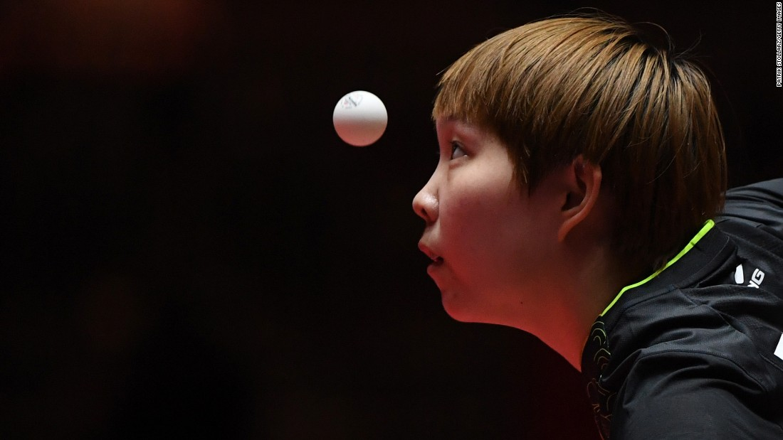 Zhu Yuling eyes the ball during a quarterfinal match at the World Table Tennis Championships on Friday, June 2.