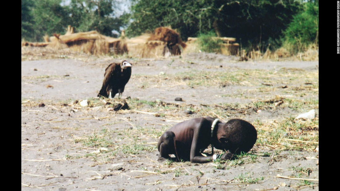 It's an image you cannot unsee. This photo of a vulture stalking a starving child in 1993 brought the realities of the famine sweeping across Sudan to global audiences in devastating fashion. The photographer, Kevin Carter, was awarded the Pulitzer Prize for feature photography for capturing the image, but Carter killed himself months after receiving the award.