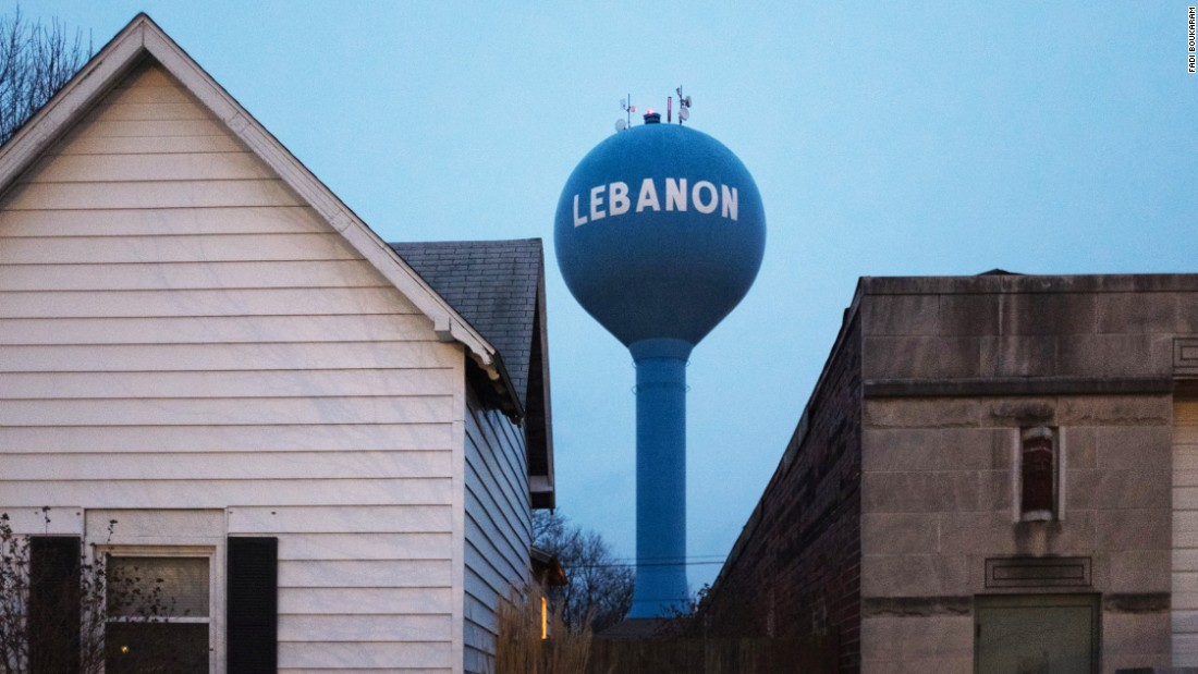 The city water tower in Lebanon, Indiana. Founded in 1832, today the city has a population of 15,792 making it one of the largest Lebanons in America.