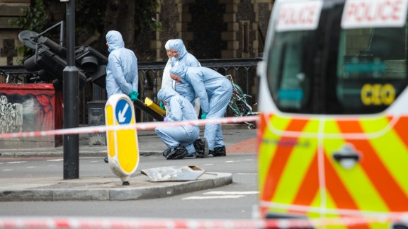 Forensics officers are on duty in the aftermath of the June 3 London attack.
