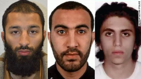 Left to right: London attackers Khuram Butt, Rachid Redouane and Youssef Zaghba