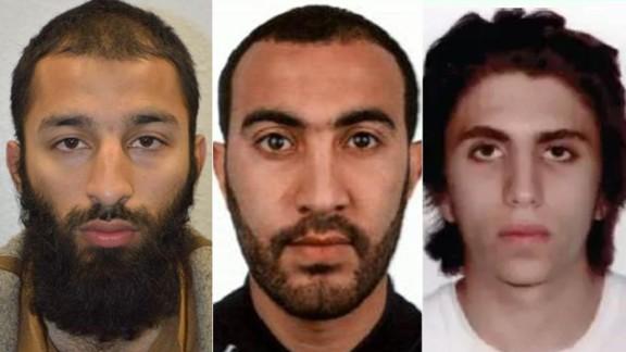 London attackers Left to right: Khuram Butt, Rachid Redouane, Youssef Zaghba