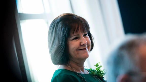 Karen Pence listens attends a Saint Patrick's Day breakfast at the Naval Observatory March 16, 2017 in Washington, DC.
