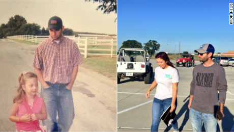Jason Gayler walks his daugher Brittany to her first day of kindergarten and last day of high school