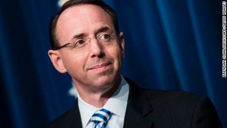Deputy Attorney General Rod Rosenstein waits to speak about fentanyl at the headquarters of the Drug Enforcement Agency  June 6, 2017 in Arlington, Virginia. (BRENDAN SMIALOWSKI/AFP/Getty Images)