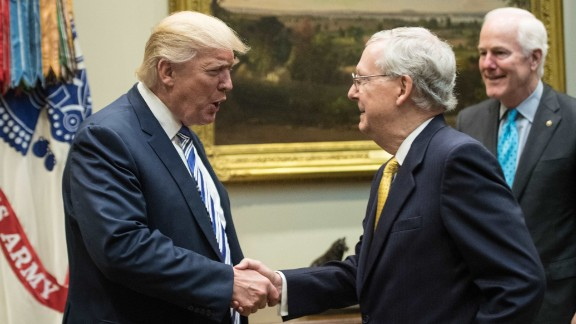 US President Donald Trump shakes hands with Senate Majority Leader Mitch McConnell as he meets with Republican congressional leaders in the Roosevelt Room at the White House in Washington, DC, on June 6, 2017.