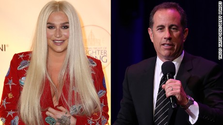 Singer Kesha appears to be more of a fan of Jerry Seinfeld than he is of her.