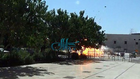 The moment a bomb was detonated on Wednesday, June 7, at the Ayatollah Khomeini shrine near Tehran, Iran, reportedly is shown in this screengrab from a video. Attackers mounted simultaneous gun and suicide-bomb assaults on the shrine and Iran