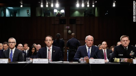 From left, Acting FBI Director Andrew McCabe, Deputy Attorney General Rod Rosenstein, National Intelligence Director Dan Coats, and National Security Agency Director Adm. Michael Rogers are seated during a Senate Intelligence Committee hearing about the Foreign Intelligence Surveillance Act, on Capitol Hill, Wednesday. (AP Photo/Alex Brandon)