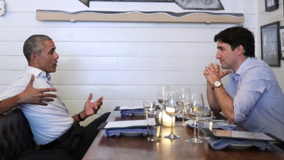 """Former US President Barack Obama, left, and Canadian Prime Minister Justin Trudeau eat dinner together in Montreal on Tuesday, June 6. According to The Obama Foundation, the pair """"discussed their shared commitment to developing the next generation of leaders."""""""