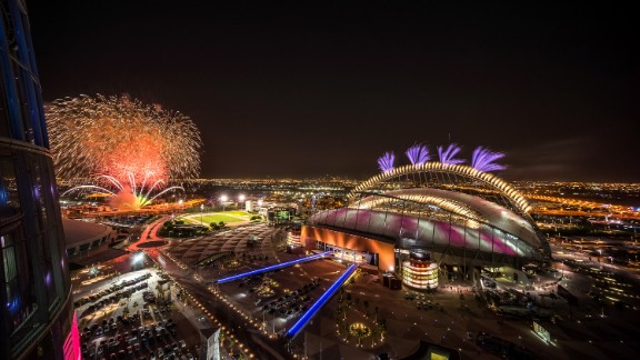 DOHA, QATAR - MAY 19:  In this handout image supplied by Qatar 2022,  Fireworks over Khalifa International  Stadium during the official opening ceremony of Khalifa International  Stadium on May 19, 2017 in Doha, Qatar. Qatar