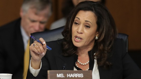 Sen. Kamala Harris (D-CA) questions witnesses from the Trump Administration in the Hart Senate Office Building on Capitol Hill in June.