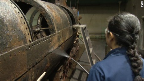 Conservation work being done on the submarine H.L. Hunley in a North Charleston laboratory.