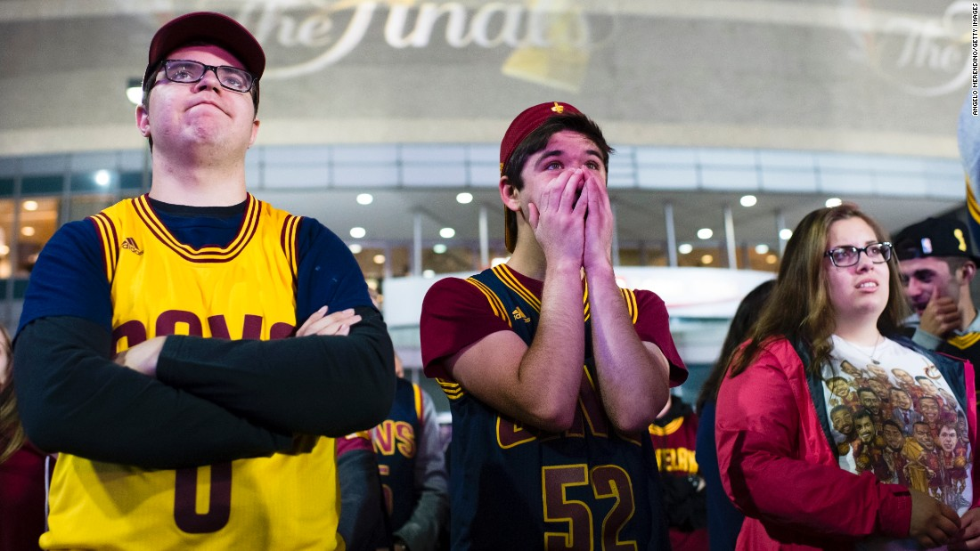 Cleveland fans gather outside Quicken Loans Arena to watch Game 3. The Cavs led by six points with a little more than three minutes left, but the Warriors ended the game on an 11-0 run.