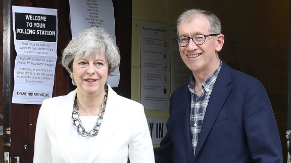 Conservative Party leader Theresa May and husband Philip  voted in Maidenhead, England.