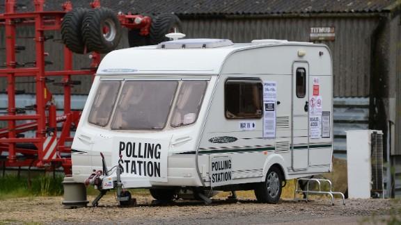 A caravan serves as a polling station in Garthorpe, England.