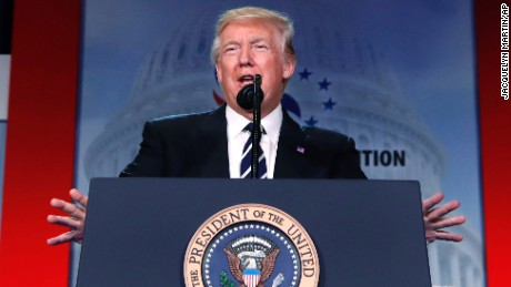President Donald Trump speaks to a Faith and Freedom conference at the Omni Shoreham Hotel, Thursday, June 8, 2017, in Washington.
