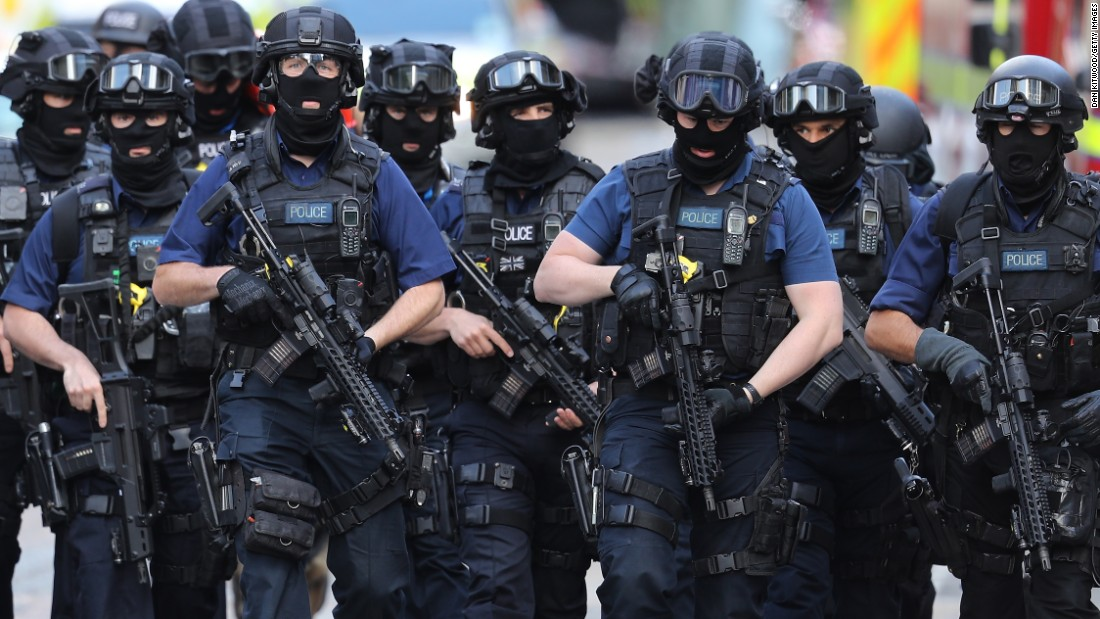 "Counterterrorism officials patrol near the scene of a <a href=""http://www.cnn.com/2017/06/04/europe/london-how-the-attack-unfolded/index.html"" target=""_blank"">terror attack on London Bridge</a> on Sunday, June 4. <a href=""http://www.cnn.com/2017/06/05/europe/london-bridge-attack-victims-wounded/index.html"" target=""_blank"">Eight people were killed</a> and at least 48 were wounded Saturday night when <a href=""http://www.cnn.com/2017/06/07/europe/london-bridge-attack-khuram-butt-investigation/index.html"" target=""_blank"">three attackers</a> rammed a vehicle into pedestrians on London Bridge and then went on a stabbing spree at bars and restaurants at nearby Borough Market."