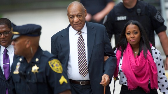 Bill Cosby arrives with actress Keshia Knight Pulliam at the Montgomery County Courthouse in Norristown, Pennsylvania, on Friday, June 5, before the opening of Cosby's sexual assault trial. Cosby, 79, faces three counts of aggravated indecent assault. The comedian has pleaded not guilty to the charges and has said he does not plan to testify.