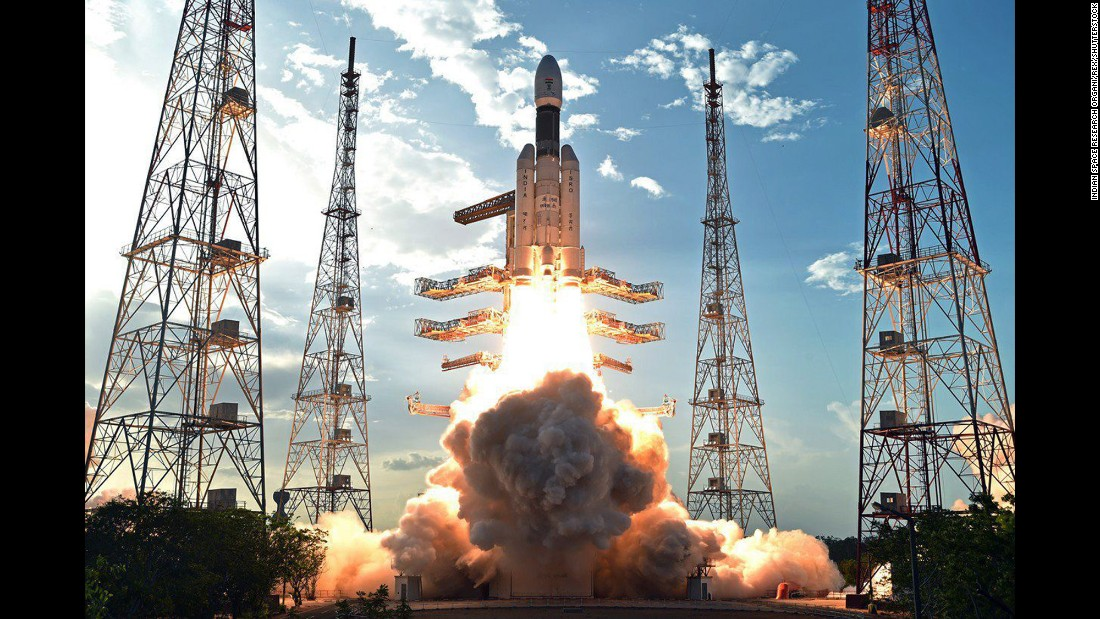 This handout photo from the Indian Space Research Organization shows an Mk III-D1 Geosynchronous Satellite Launch Vehicle taking off from the Satish Dhawan Space Centre in Sriharikota, India, on Monday, June 5.