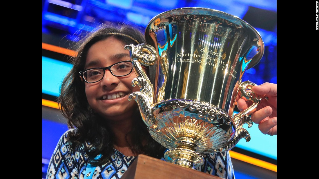 "Ananya Vinay poses with her trophy after <a href=""http://www.cnn.com/2017/06/01/us/national-spelling-bee-finals-winner/index.html"" target=""_blank"">winning the annual Scripps National Spelling Bee</a> in Oxon Hill, Maryland, on Thursday, June 1. The 12-year-old from Fresno, California, beat 291 other spellers in this year's contest. The winning word was ""marocain,"" a dress fabric that is made of ribbed silk or rayon and a filling of other yarns."