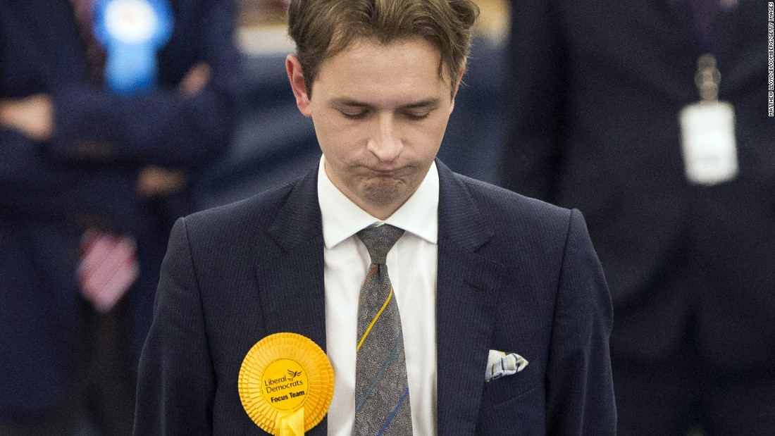 Niall Hodson, the Liberal Democrats' candidate for Sunderland Central, reacts as results are declared.