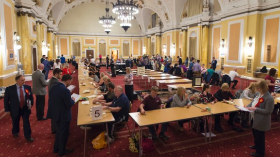 Ballots are counted at City Hall in Cardiff, Wales.