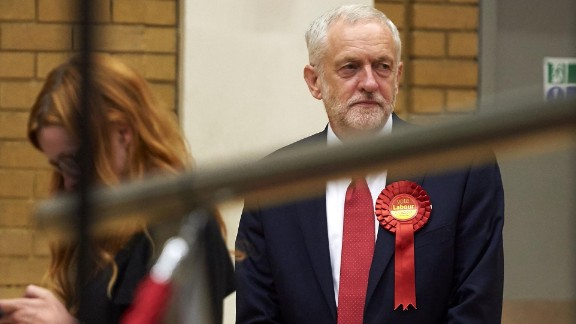 Corbyn prepares to take the stage for poll results to be declared in London.