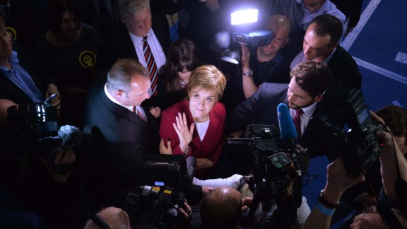 First Minister Nicola Sturgeon, leader of the Scottish National Party, arrives at a counting hall in Glasgow, Scotland, on June 9. Voters in Scotland sent a resounding message to the party, which lost more than 20 seats.