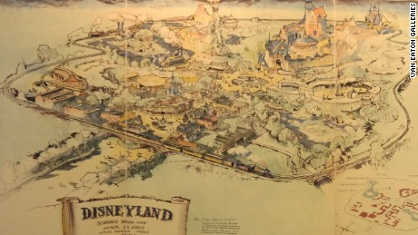 Photo of the original map of Disneyland commissioned by Walt Disney in 1953.