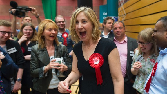 CARDIFF, UNITED KINGDOM - JUNE 09: Anna McMorrin celebrates after winning Cardiff North for Labour at the Sport Wales National Centre on June 9, 2017 in Cardiff, United Kingdom. After a snap election was called, the United Kingdom went to the polls yesterday following a closely fought election. The results from across the country are being counted and an overall result is expected in the early hours. (Photo by Matthew Horwood/Getty Images)