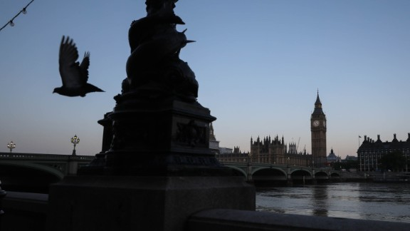 The Houses of Parliament are seen at dawn on June 9.