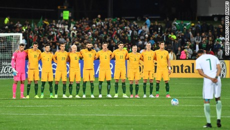 fb3488039 The Socceroos players observe a moments silence prior to the 2018 FIFA  World Cup Qualifier match