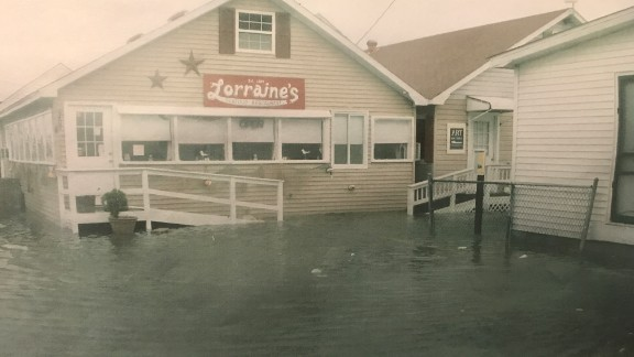 """In 2012 during Superstorm Sandy, Mayor James """"Ooker"""" Eskridge snapped this picture of the storm surge pushing up against the local Tangier's restaurant, Lorraine's."""