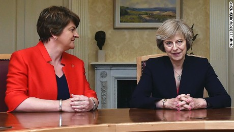 Arlene Foster, (left) leader of the Democratic Unionist Party, sits with Theresa May. The British Prime Minister needs the support of the DUP in Northern Ireland to form a new government.