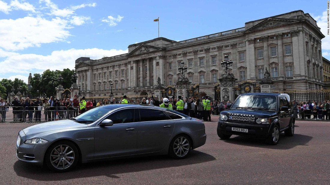 A car takes May away from Buckingham Palace after her meeting with the Queen. May was the one who called for the snap election three years earlier than required by law.