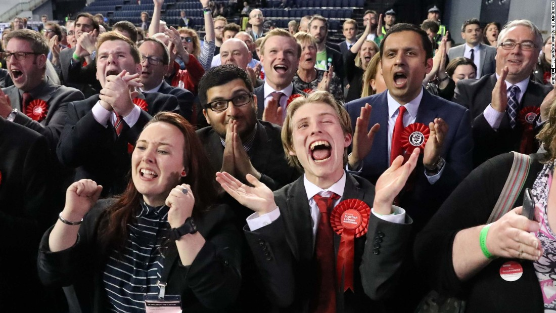 Scottish Labour Party supporters celebrate in Glasgow as ballot-counting was underway on June 9.