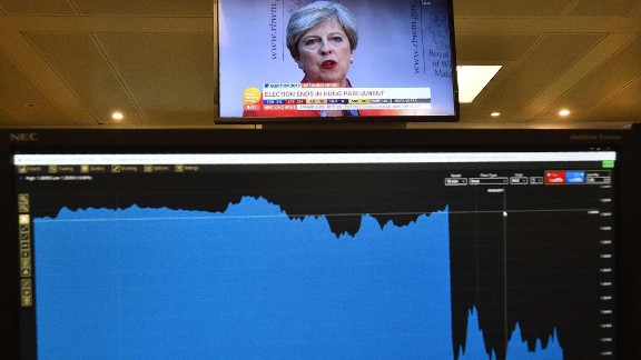 A graph on a trader's screen shows the fall of the British pound after the first exit poll was released on Thursday, June 8.