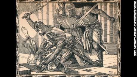 The Murder of Thomas A Becket, 1902. Archbishop of Canterbury from 1162, Becket clashed almost incessantly with King Henry II over the question of the independence of the Church from the authority of the state. He was murdered by four knights in Canterbury Cathedral on 29 December 1170. After a work by Patten Wilson (1869-1934). From A Child's History of England by Charles Dickens [J. M. Dent & Co., New York, 1902]  (Photo by Print Collector/Getty Images)