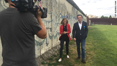 Formula E CEO Alejandro Agag and CNN's Supercharged presenter Nicki Shields on location in Berlin.
