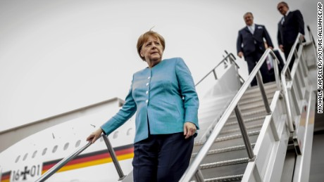 German Chancellor Angela Merkel walks down the gangway at the airport in Mexico City, Mexico, 09 June 2017. Merkel is on a three-day visit to Argentina and Mexico.