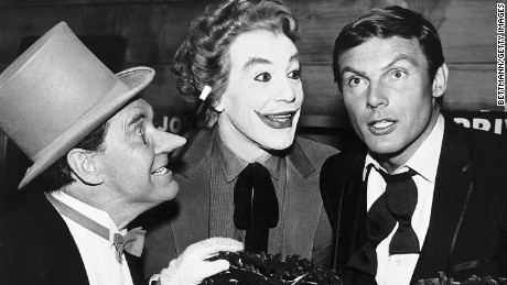 "Burgess Meredith, from left, as the Penguin, Cesar Romero as the Joker and Adam West on ""Batman."""