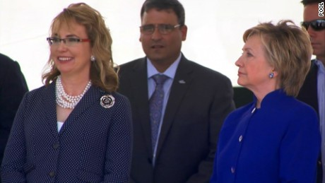 Former representative Gabrielle Giffords and former Secretary of State Hilary Clinton at the Navel ceremony to commission the USS Gabrielle Giffords on June 10.